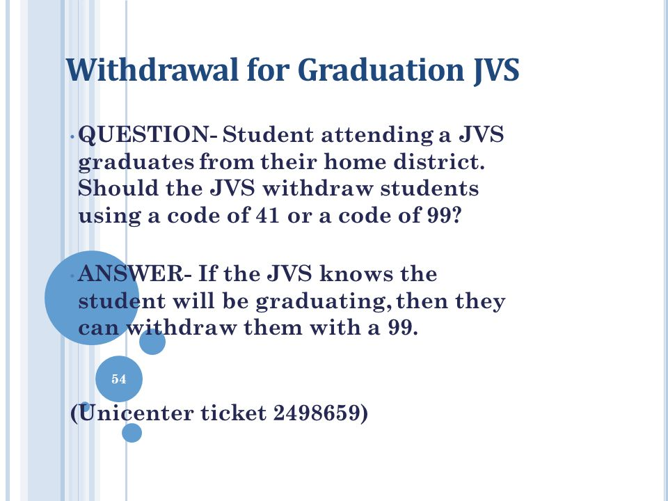 Withdrawal for Graduation JVS