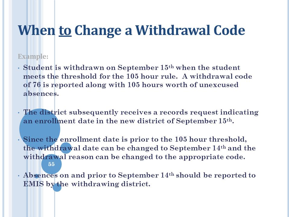 When to Change a Withdrawal Code