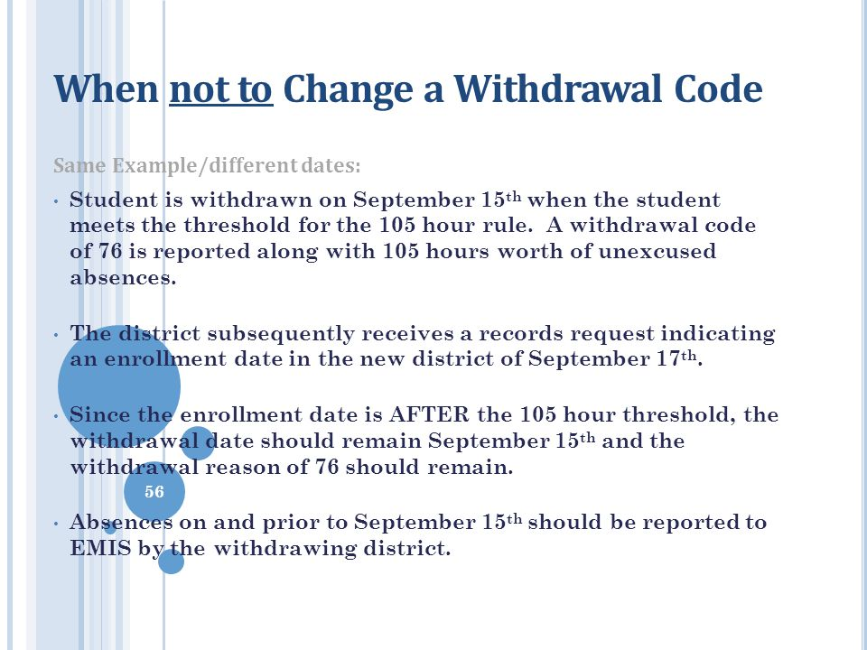 When not to Change a Withdrawal Code