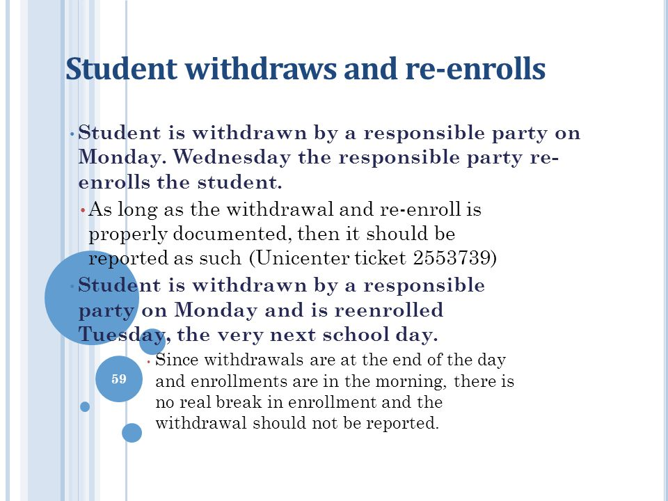 Student withdraws and re-enrolls