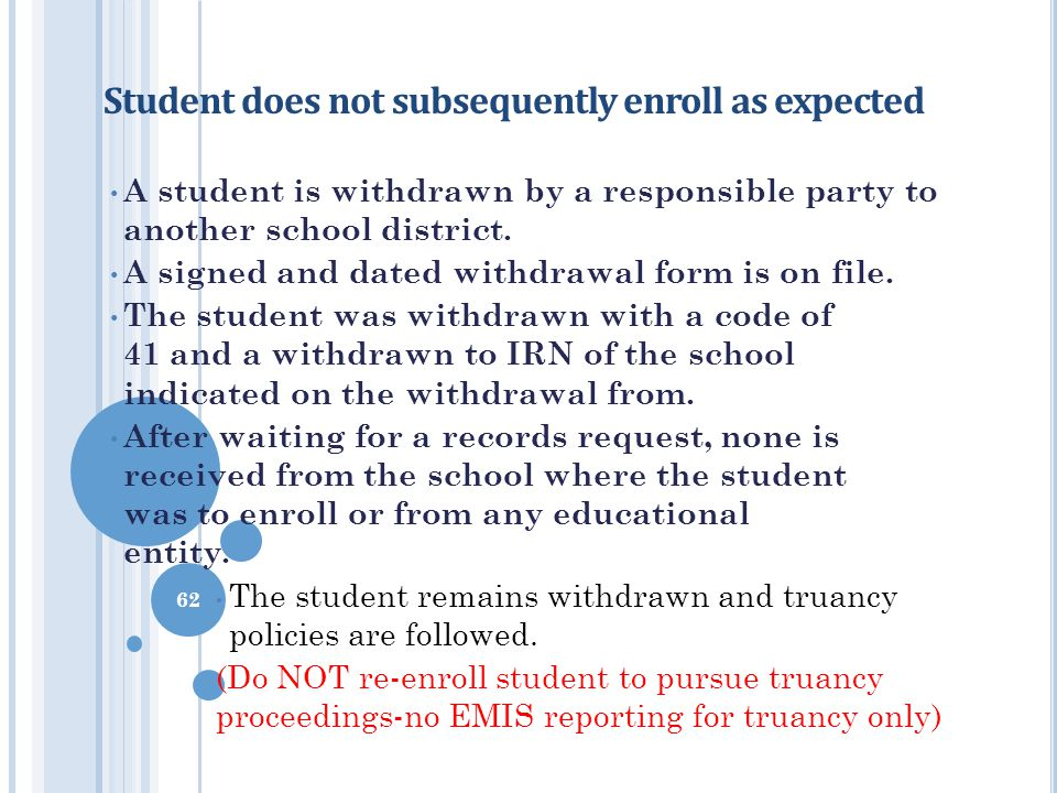 Student does not subsequently enroll as expected
