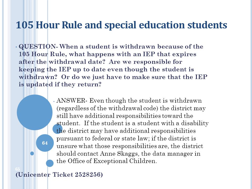 105 Hour Rule and special education students
