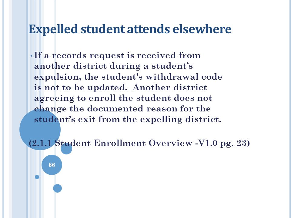 Expelled student attends elsewhere