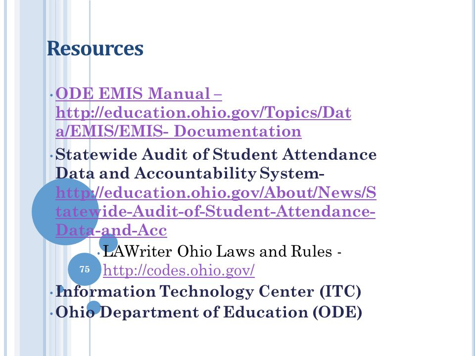 Resources ODE EMIS Manual – http://education.ohio.gov/Topics/Dat a/EMIS/EMIS- Documentation.