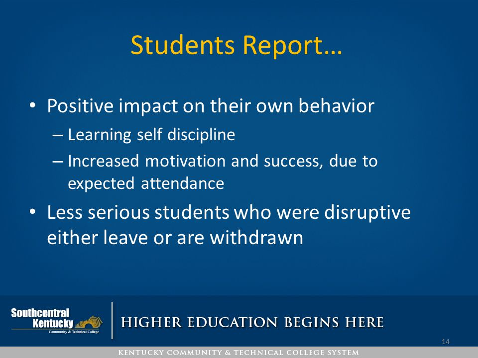 Students Report… Positive impact on their own behavior
