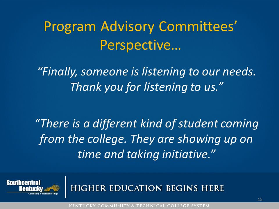 Program Advisory Committees' Perspective…