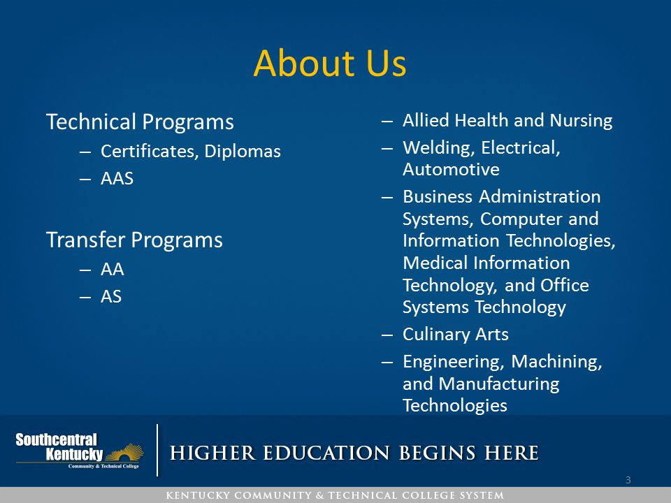 About Us Technical Programs Transfer Programs