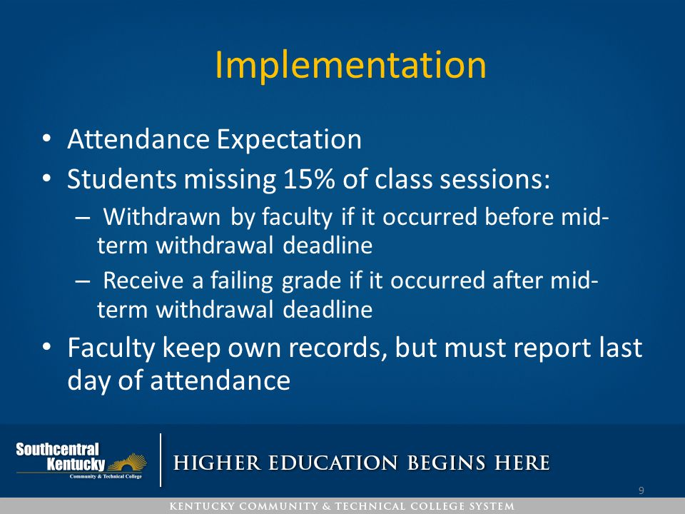 Implementation Attendance Expectation