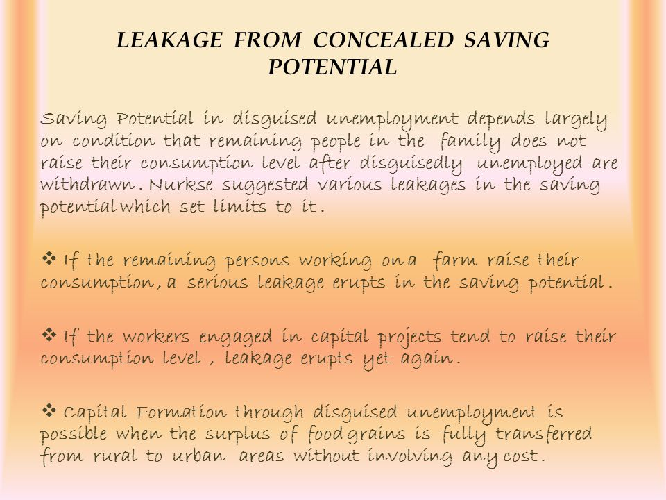 LEAKAGE FROM CONCEALED SAVING POTENTIAL