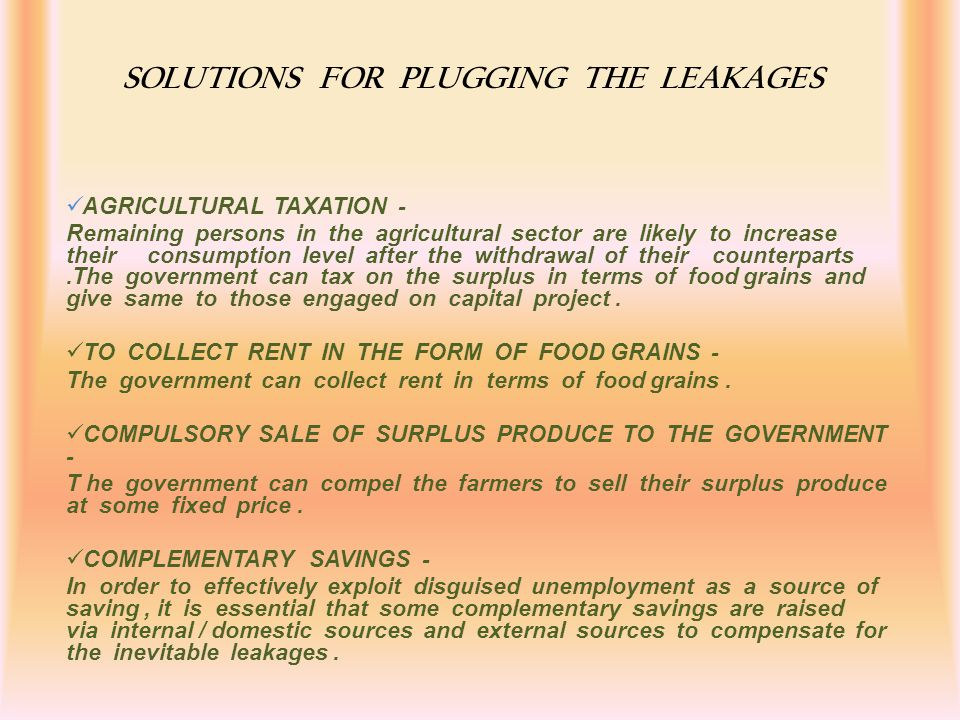 SOLUTIONS FOR PLUGGING THE LEAKAGES
