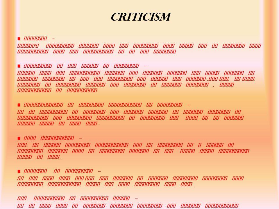 CRITICISM LEAKAGES -