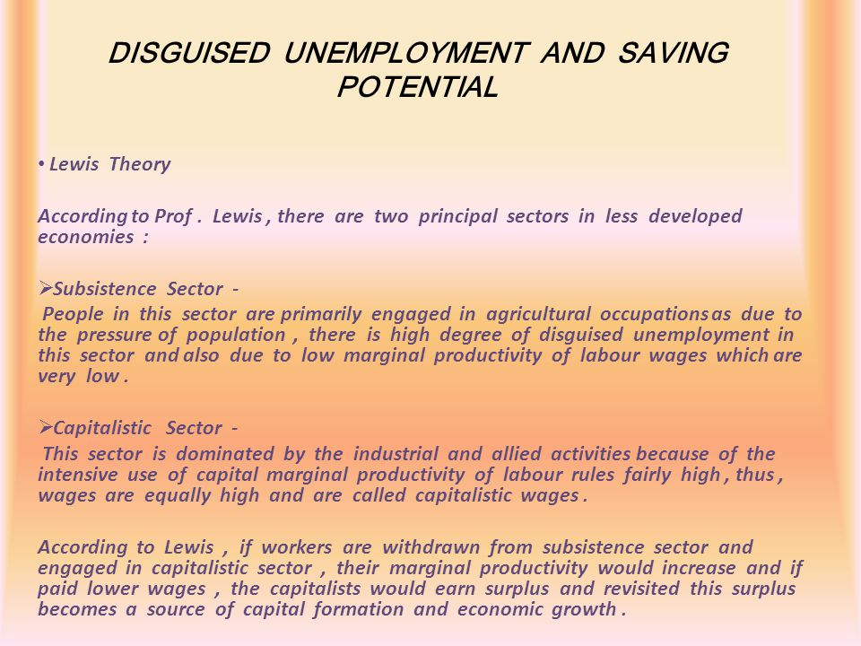 DISGUISED UNEMPLOYMENT AND SAVING POTENTIAL