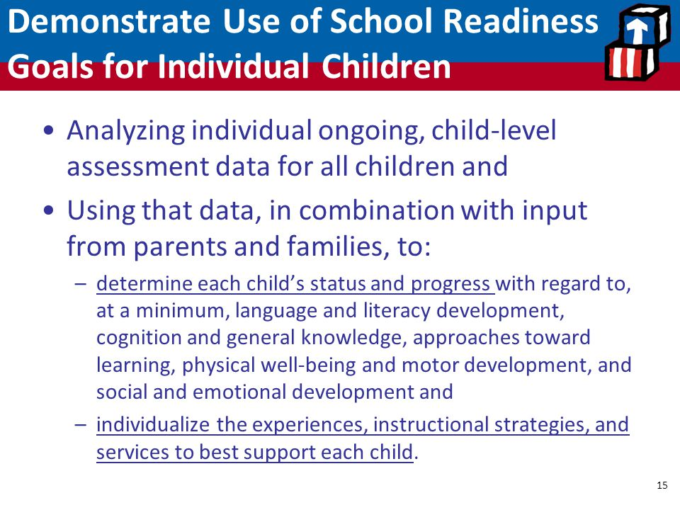 Demonstrate Use of School Readiness Goals for Individual Children