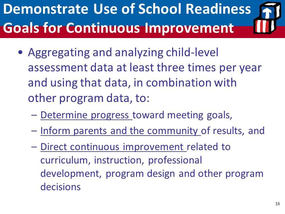 Demonstrate Use of School Readiness Goals for Continuous Improvement