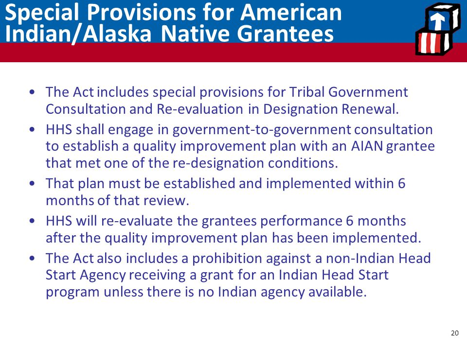 Special Provisions for American Indian/Alaska Native Grantees