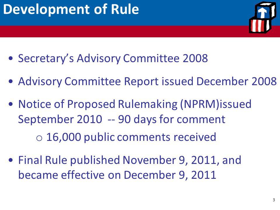 Development of Rule Secretary's Advisory Committee 2008