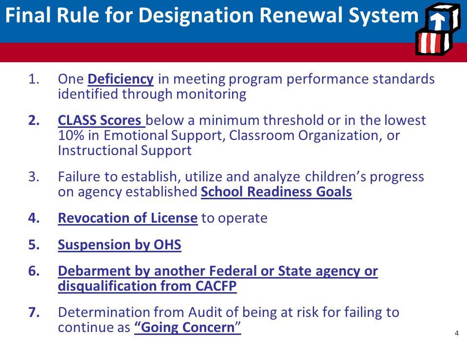 Final Rule for Designation Renewal System