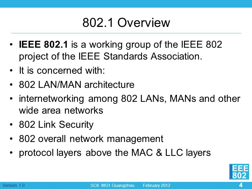 802.1 Overview IEEE 802.1 is a working group of the IEEE 802 project of the IEEE Standards Association.