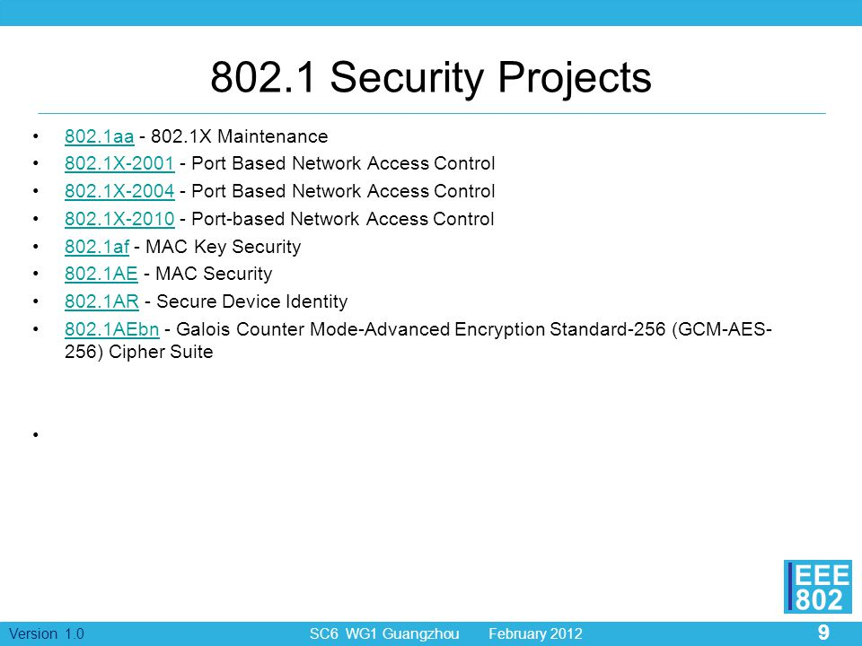 802.1 Security Projects 802.1aa - 802.1X Maintenance