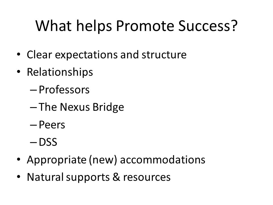 What helps Promote Success
