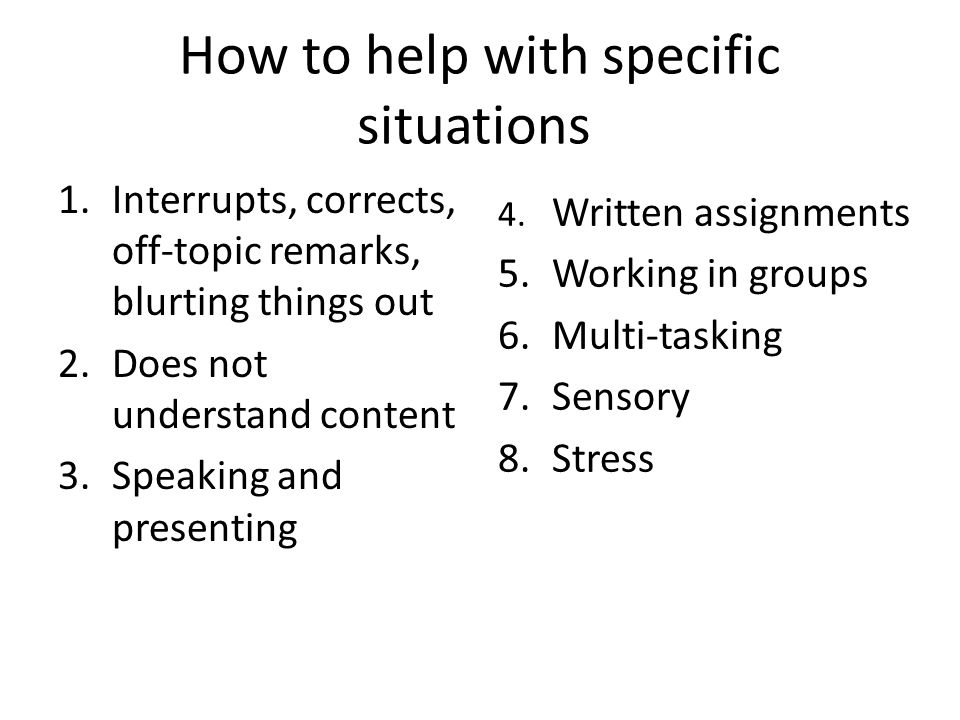 How to help with specific situations