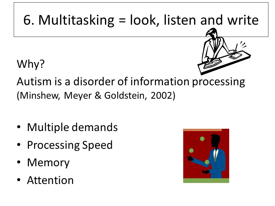 6. Multitasking = look, listen and write