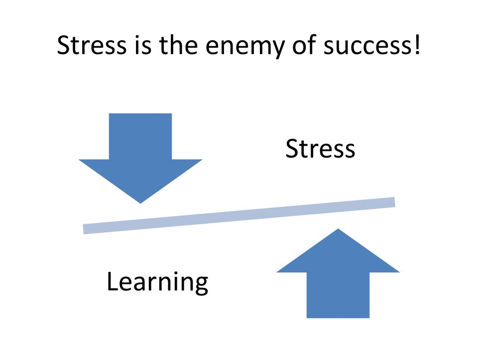 Stress is the enemy of success!