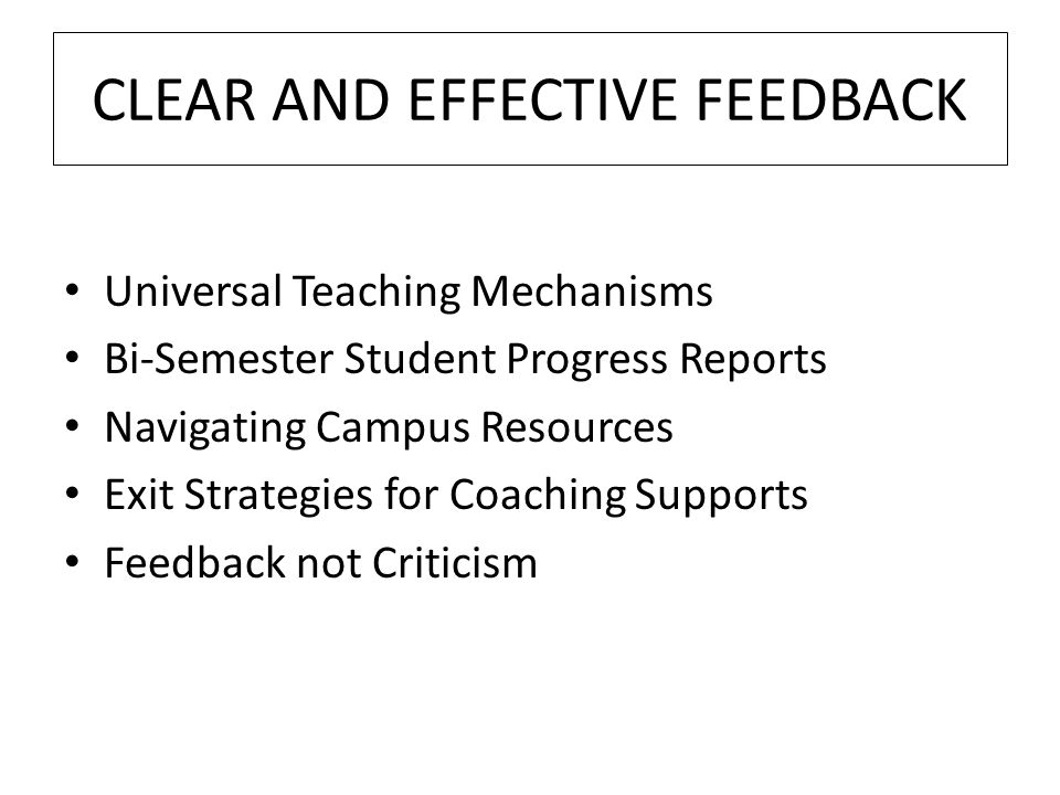 CLEAR AND EFFECTIVE FEEDBACK