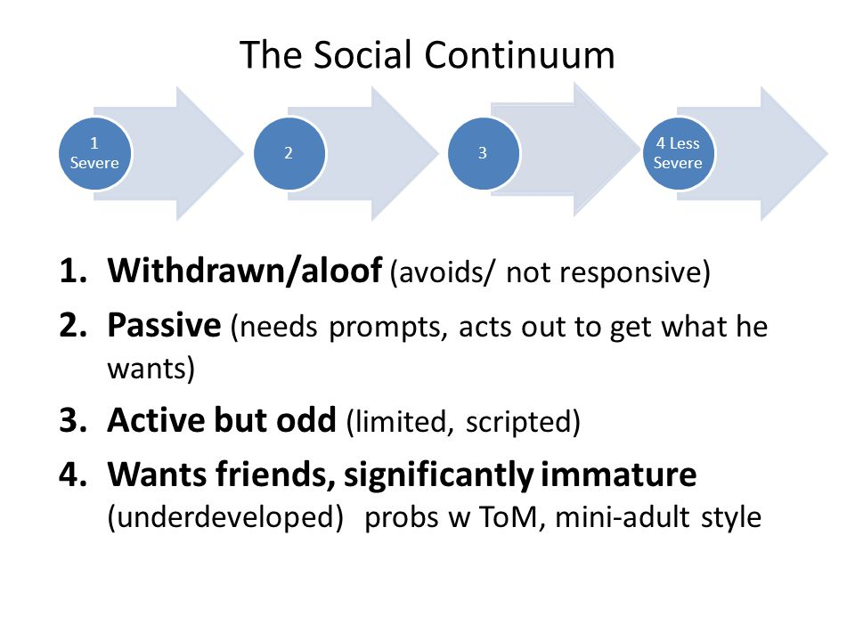 The Social Continuum Withdrawn/aloof (avoids/ not responsive)