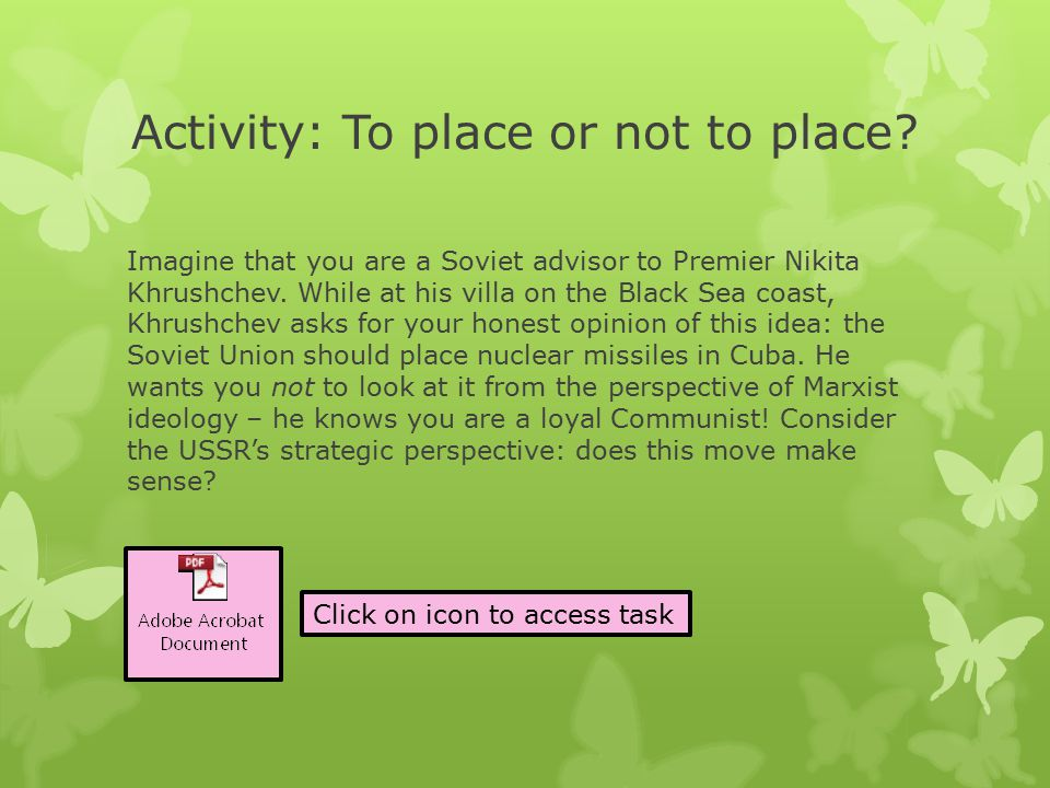 Activity: To place or not to place