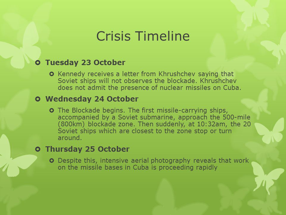 Crisis Timeline Tuesday 23 October Wednesday 24 October