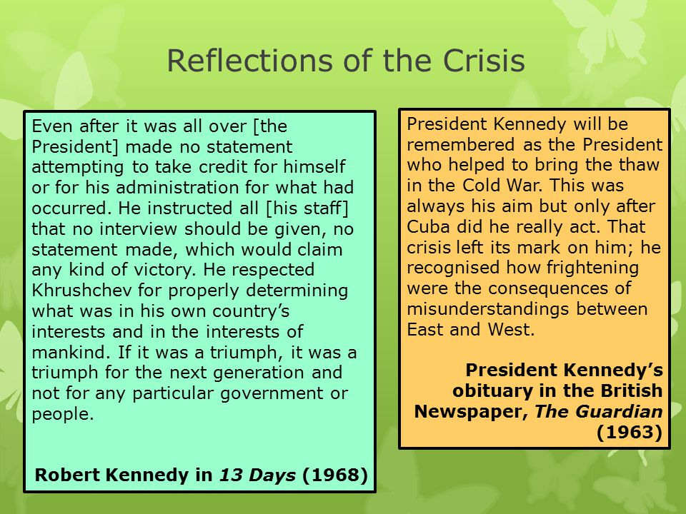 Reflections of the Crisis