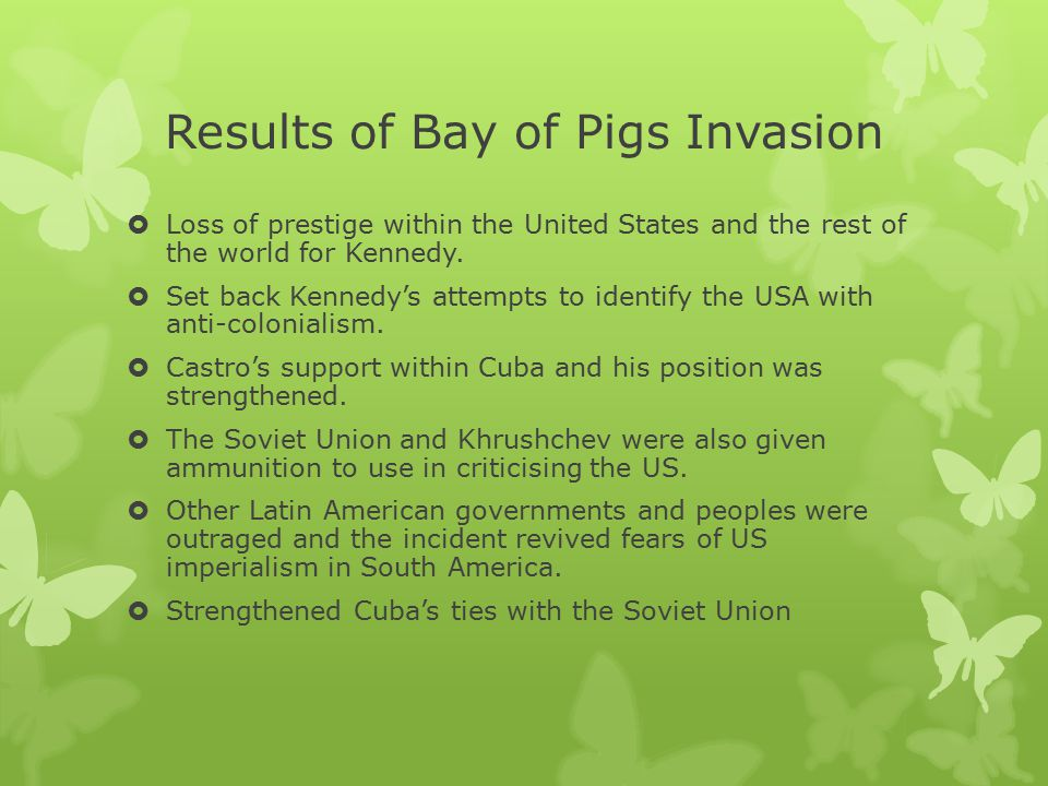 Results of Bay of Pigs Invasion