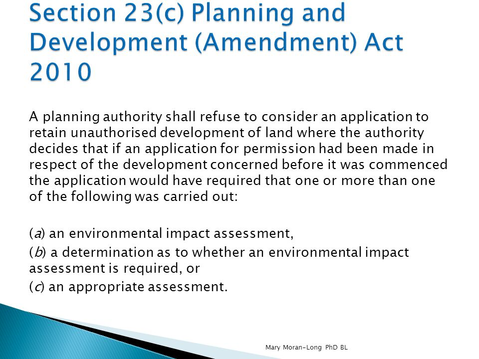 Section 23(c) Planning and Development (Amendment) Act 2010