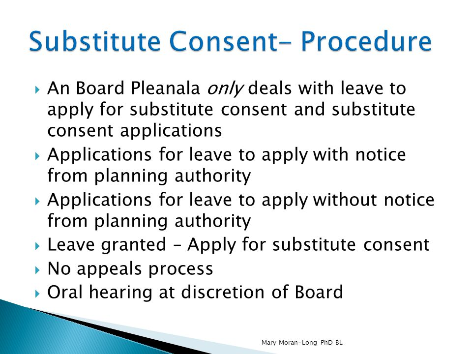 Substitute Consent- Procedure