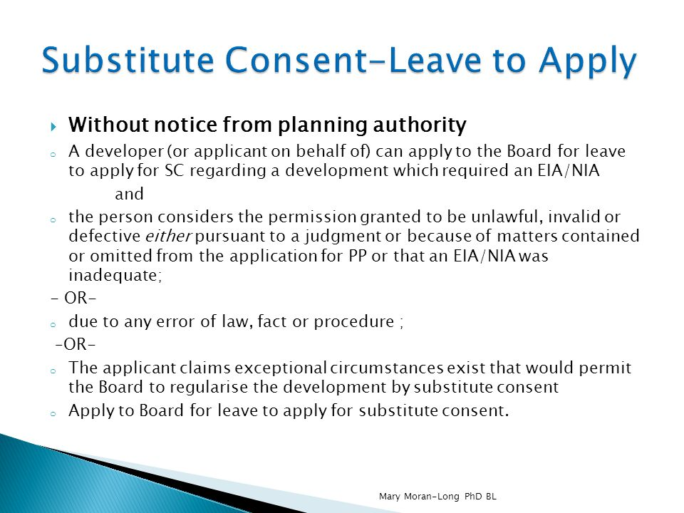 Substitute Consent-Leave to Apply