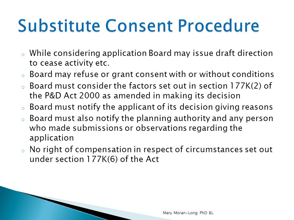 Substitute Consent Procedure