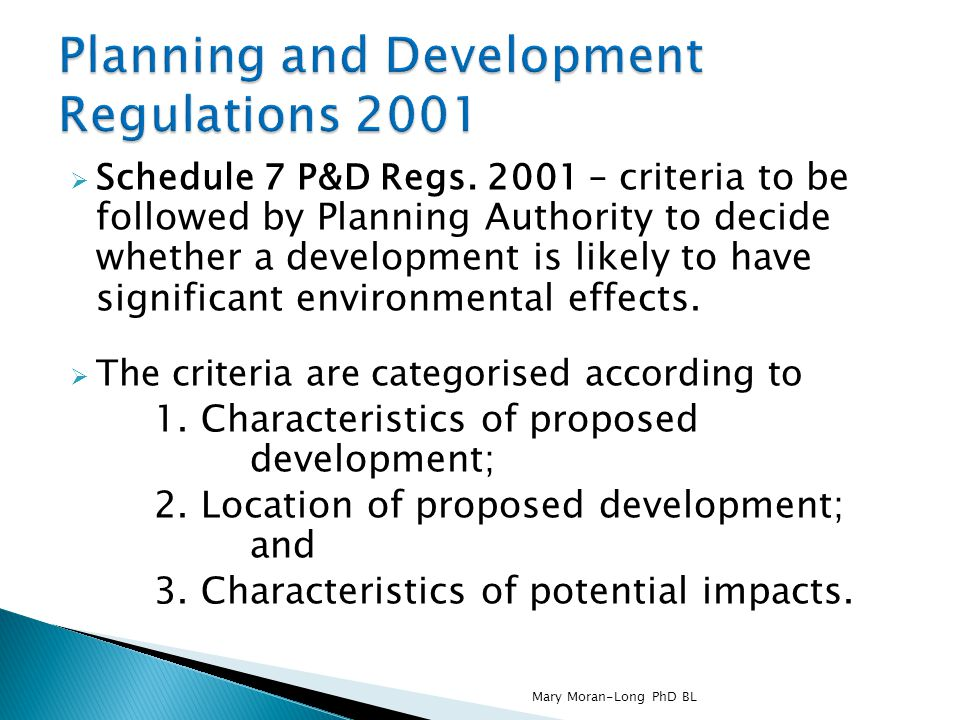 Planning and Development Regulations 2001