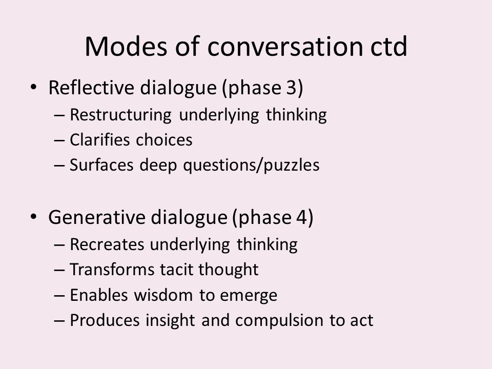 Modes of conversation ctd