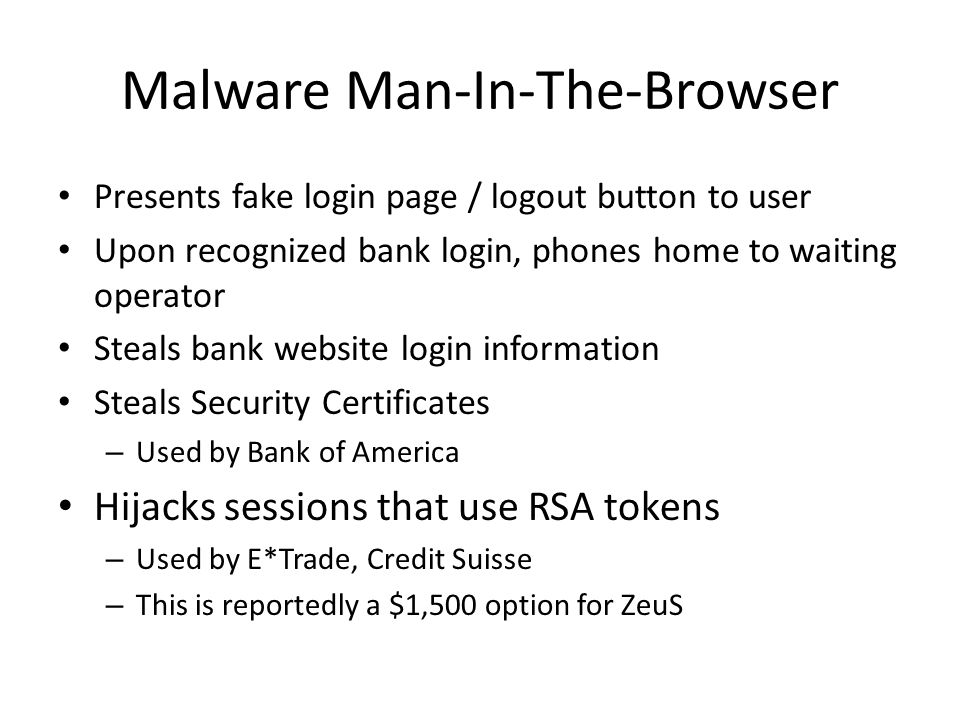 Malware Man-In-The-Browser