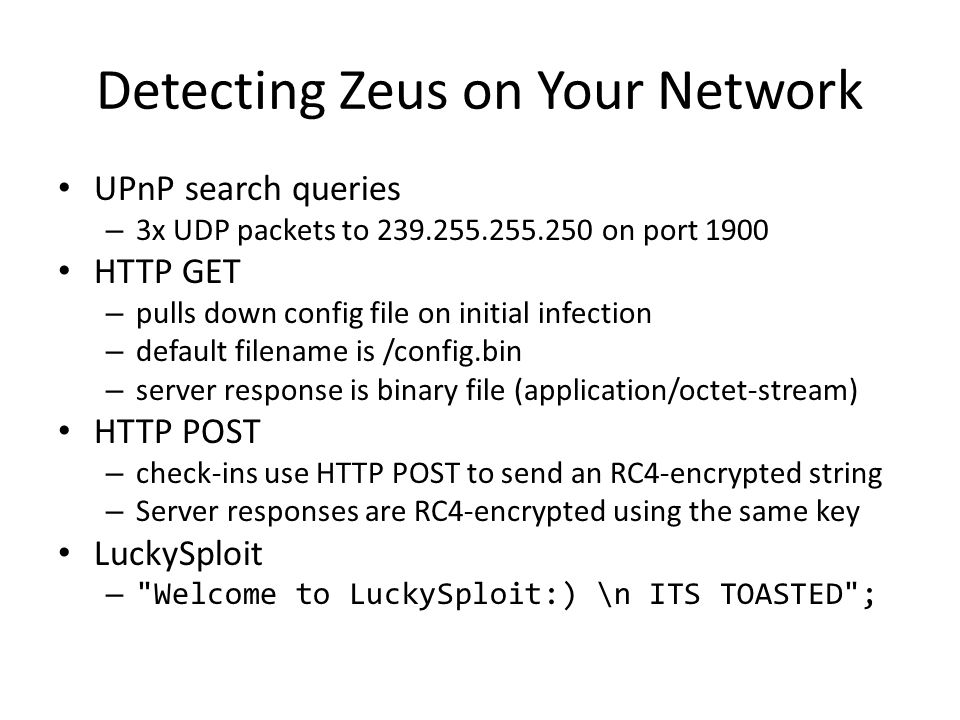 Detecting Zeus on Your Network