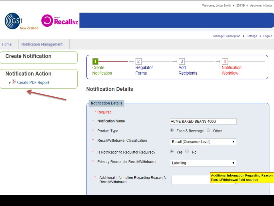 On this screen you can see that all the mandatory fields from the previous screen have been filled in.