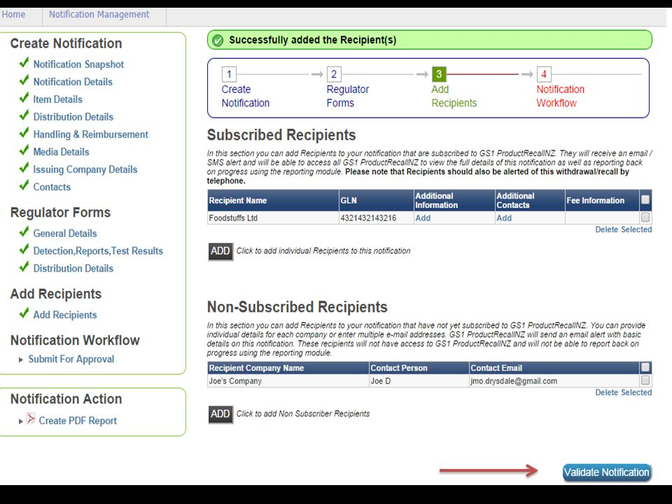 Once you have successfully added the recipients you will now see a tick next to add recipients.