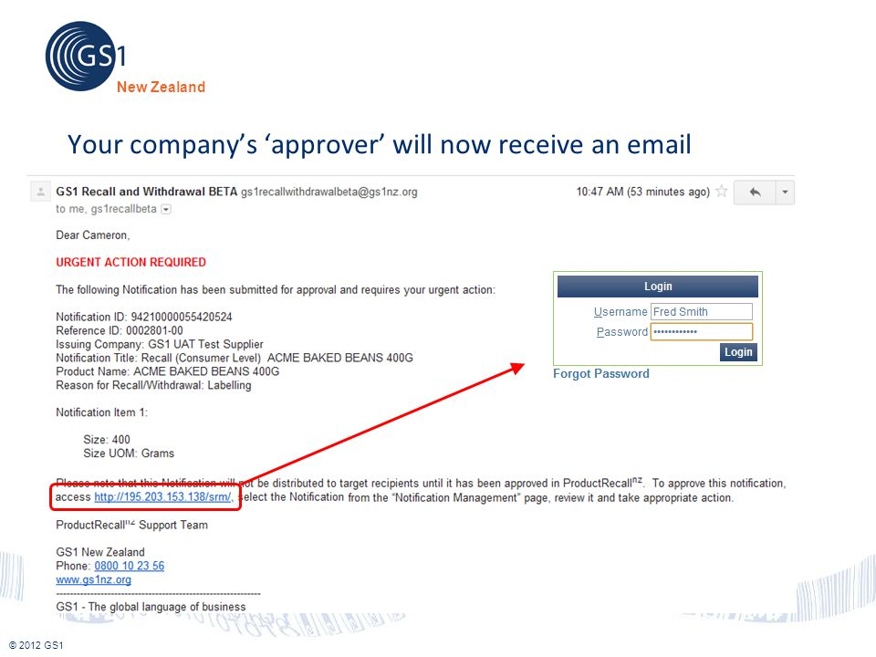 Your company's 'approver' will now receive an email