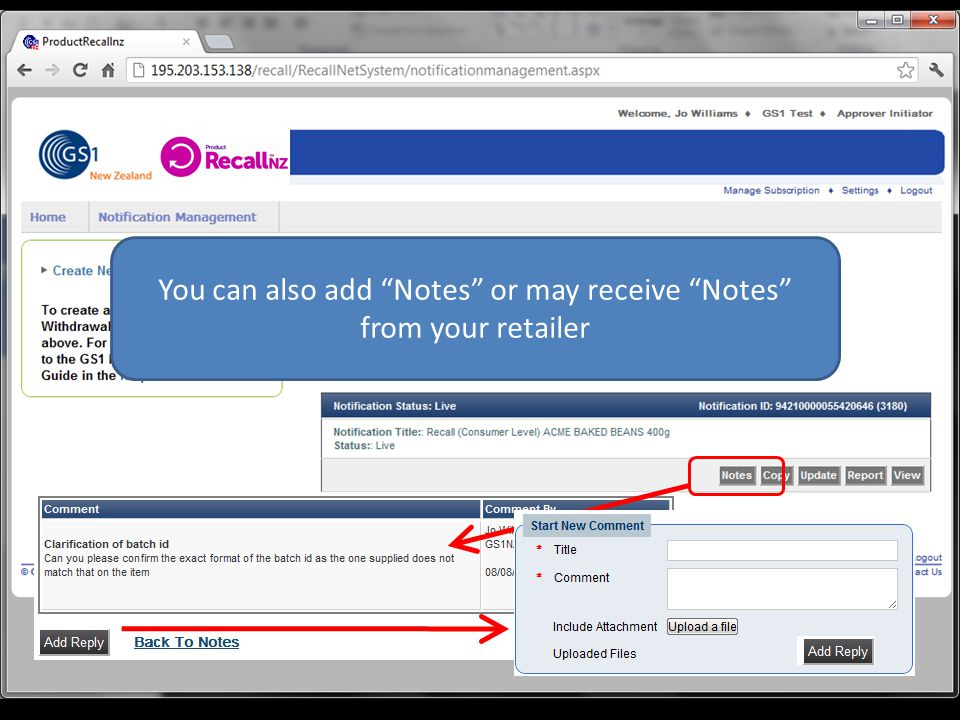 You can also add Notes or may receive Notes from your retailer
