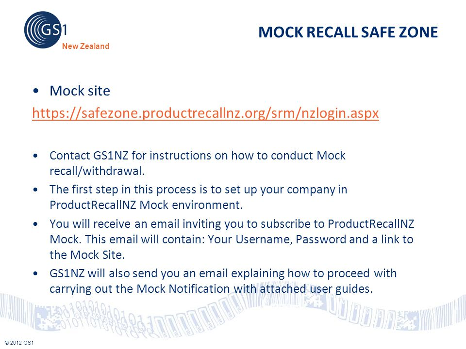 MOCK RECALL SAFE ZONE Mock site