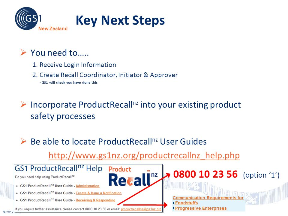 Key Next Steps 0800 10 23 56 (option '1') You need to…..