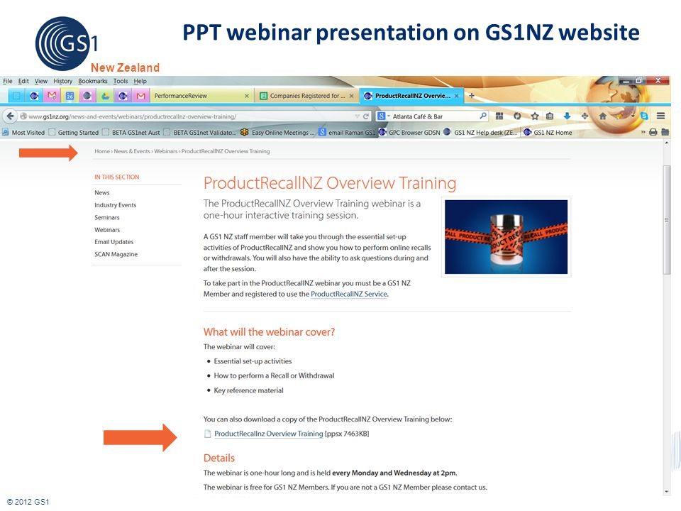 PPT webinar presentation on GS1NZ website