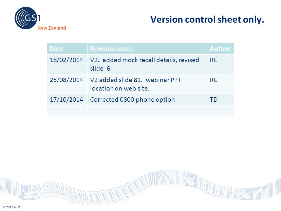 Version control sheet only.