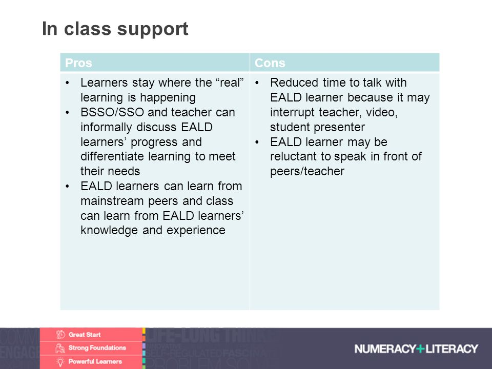 In class support Pros Cons